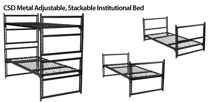 CSD Metal Adjustable, Stackable Institutional Bed