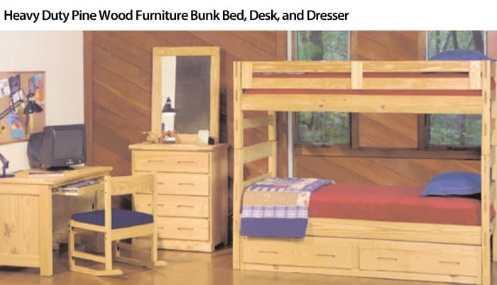Heavy Duty Pine Wood Furniture Bunk Bed Desk and Dresser
